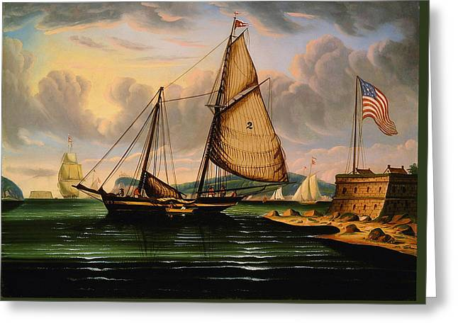 New York Harbor With Pilot Boat George Washington Greeting Card