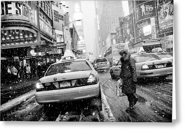 New York In Blizzard Greeting Card