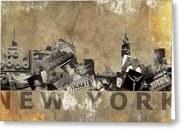 New York City Grunge Greeting Card by Suzanne Powers