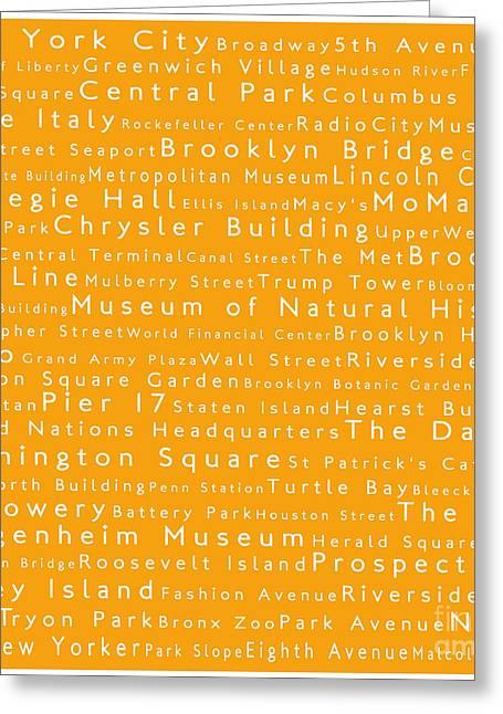 New York In Words Orange Greeting Card by Sabine Jacobs