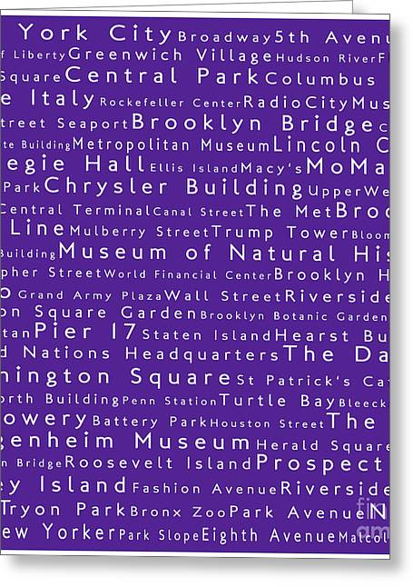 New York In Words Purple Greeting Card by Sabine Jacobs