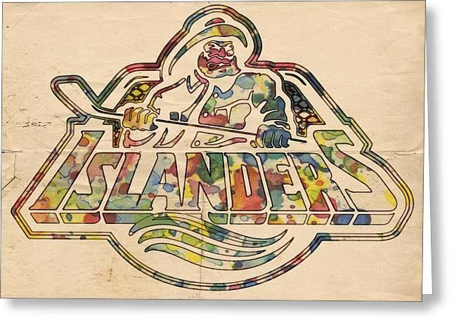 New York Islanders Retro Poster Greeting Card