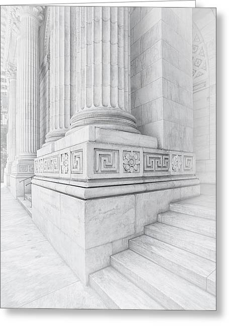 New York Library Columns Greeting Card by Susan Candelario