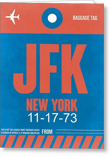 New York Luggage Tag Poster 1 Greeting Card by Naxart Studio