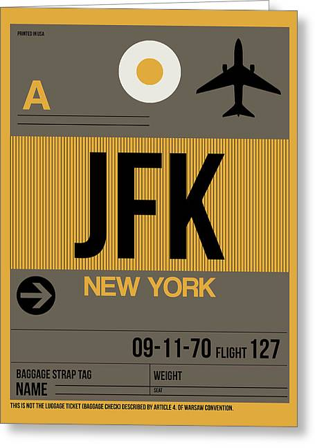 New York Luggage Tag Poster 3 Greeting Card by Naxart Studio