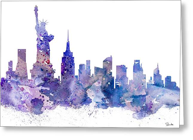 New York Greeting Card by Watercolor Girl
