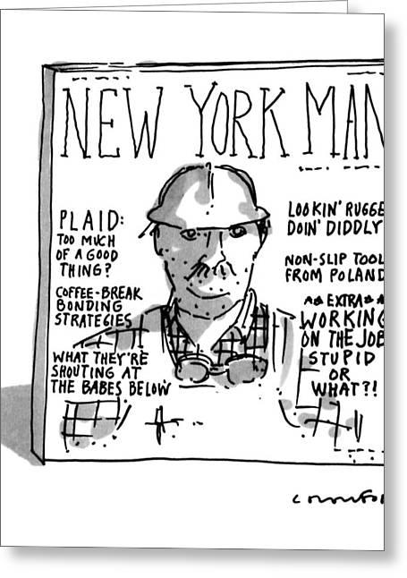 New York Man Greeting Card by Michael Crawford