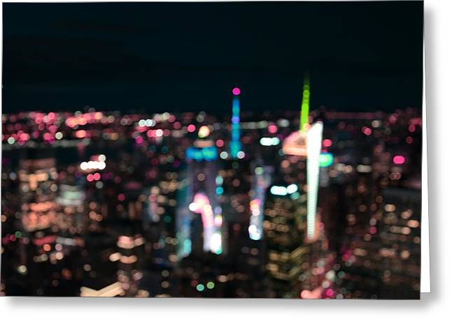 New York Manhattan Time Square Abstract Greeting Card by Marianna Mills
