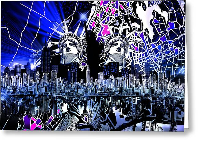 New York Map Abstract 4 Greeting Card