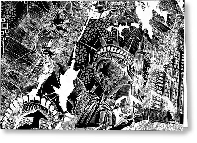 New York Map Black And White Greeting Card