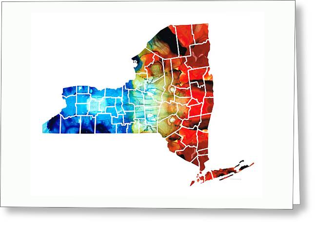 New York - Map By Sharon Cummings Greeting Card