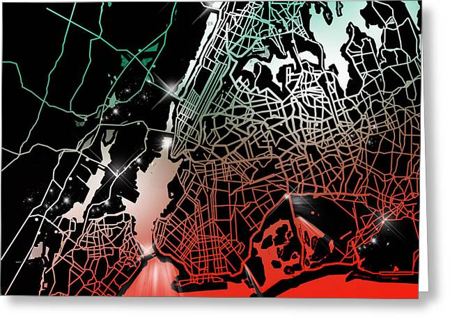 New York Map Gradient Greeting Card by Bekim Art