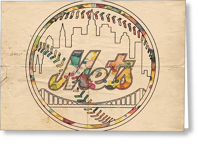 Greeting Card featuring the painting New York Mets Poster Vintage by Florian Rodarte