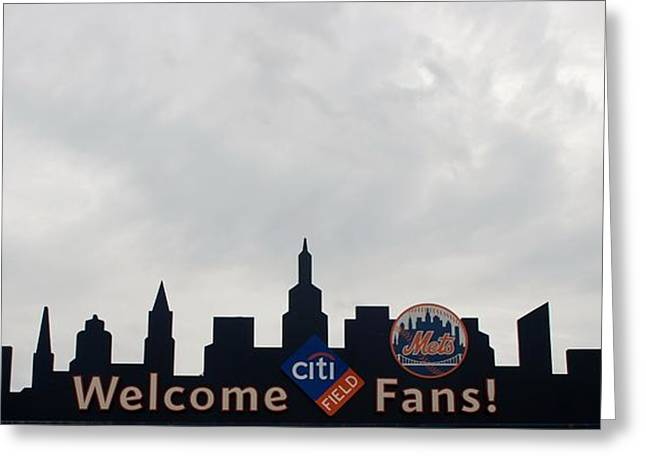 New York Mets Skyline Greeting Card by Rob Hans