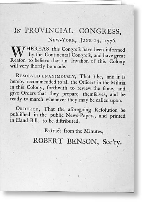 New York: Militia, 1776 Greeting Card by Granger