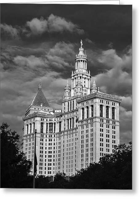 New York Municipal Building - Black And White Greeting Card