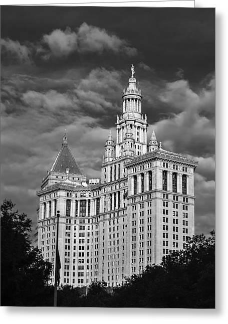 New York Municipal Building - Black And White Greeting Card by Jatinkumar Thakkar