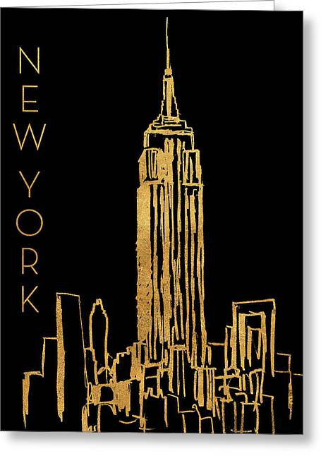 New York On Black Greeting Card