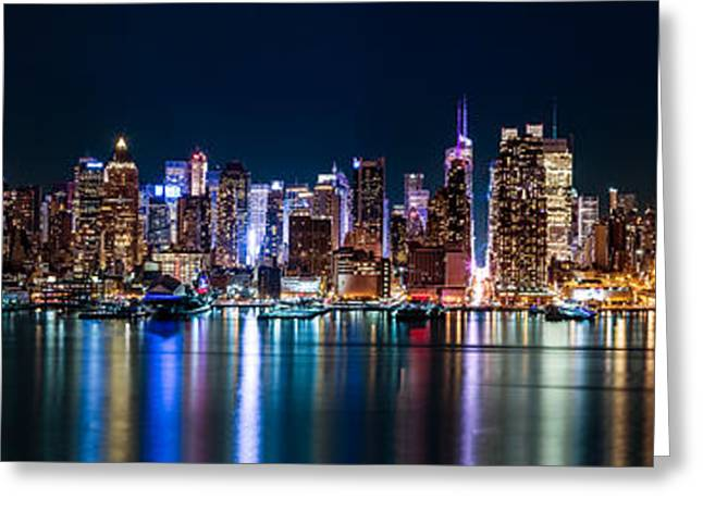 New York Panorama By Night Greeting Card