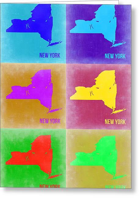 New York Pop Art  Map 3 Greeting Card by Naxart Studio
