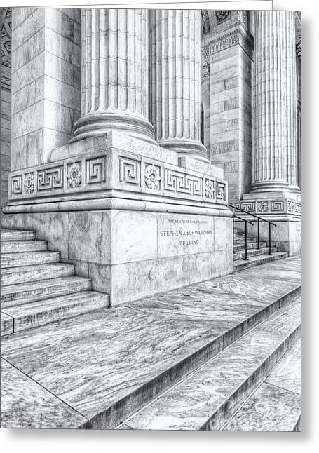 New York Public Library Columns And Stairs II Greeting Card by Clarence Holmes