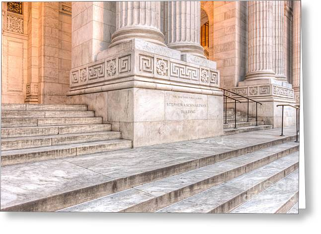 New York Public Library Columns And Stairs IIi Greeting Card by Clarence Holmes