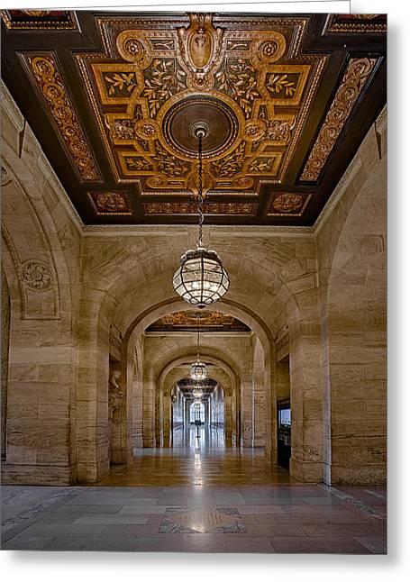 New York Public Library Corridor Greeting Card by Susan Candelario
