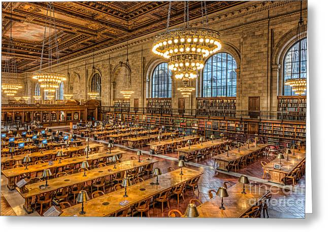 New York Public Library Main Reading Room Ix Greeting Card