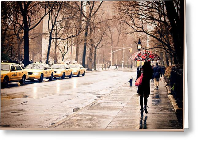 New York Rain - Greenwich Village Greeting Card by Vivienne Gucwa