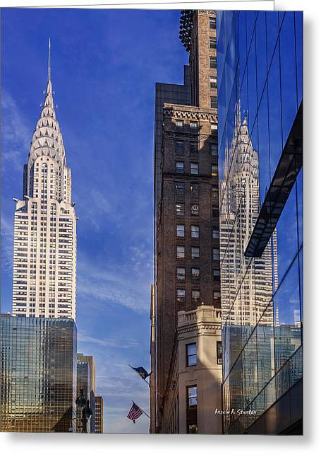 New York Reflections 20 Greeting Card by Angela A Stanton