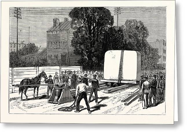 New York Removal Of The Pedestal Of The Obelisk Greeting Card by American School