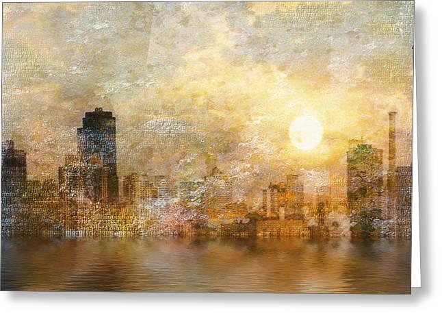 New York River Sunrise Greeting Card