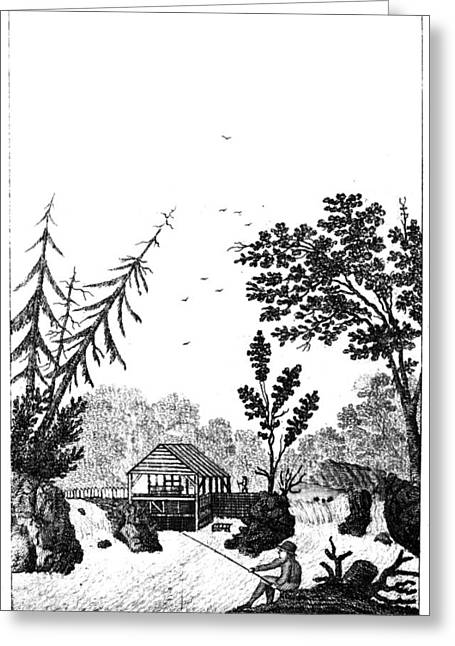 Greeting Card featuring the painting New York Saw Mill, 1792 by Granger
