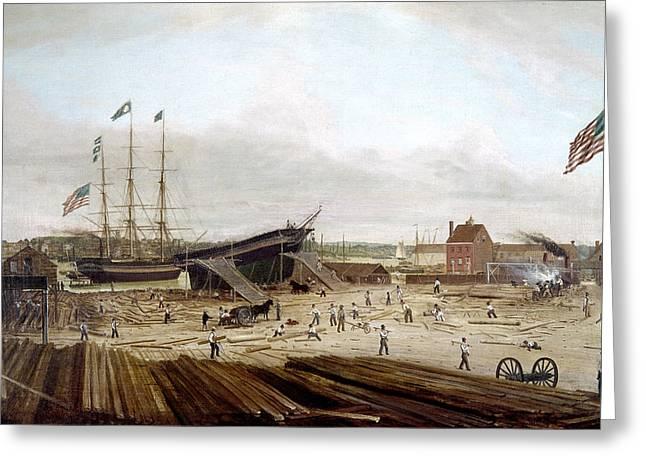 New York Shipyard, 1833 Greeting Card by Granger