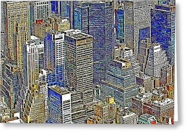 New York Skyline 20130430v5-square Greeting Card by Wingsdomain Art and Photography