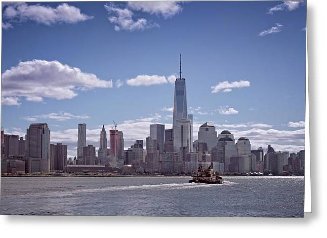 New York Skyline And Boat Greeting Card by Joan Carroll