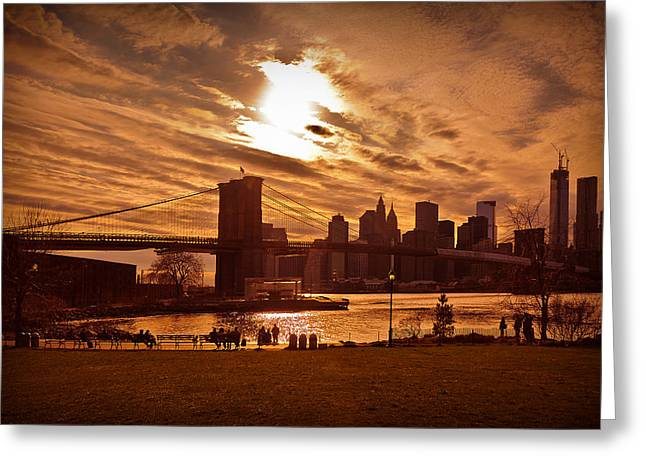 New York Skyline And Brooklyn Bridge -- Late Afternoon Greeting Card by Mitchell R Grosky