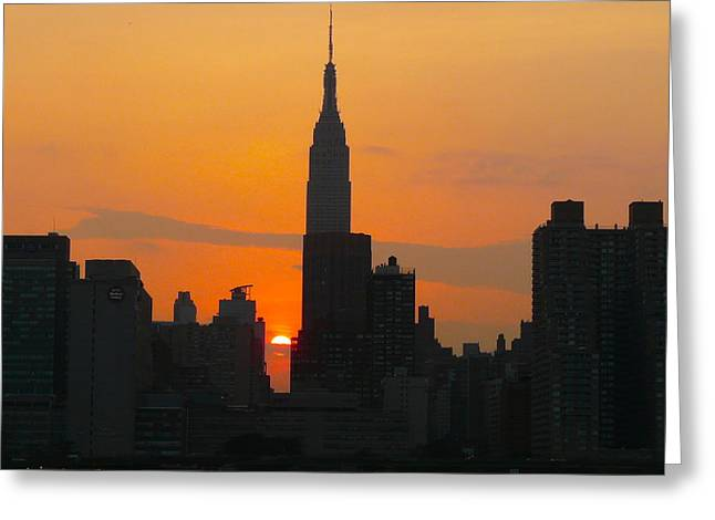 New York Skyline At Sunset Greeting Card by Avis  Noelle