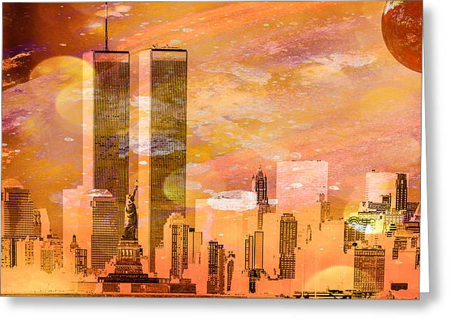 New York Skyline Greeting Card by Louis Ferreira
