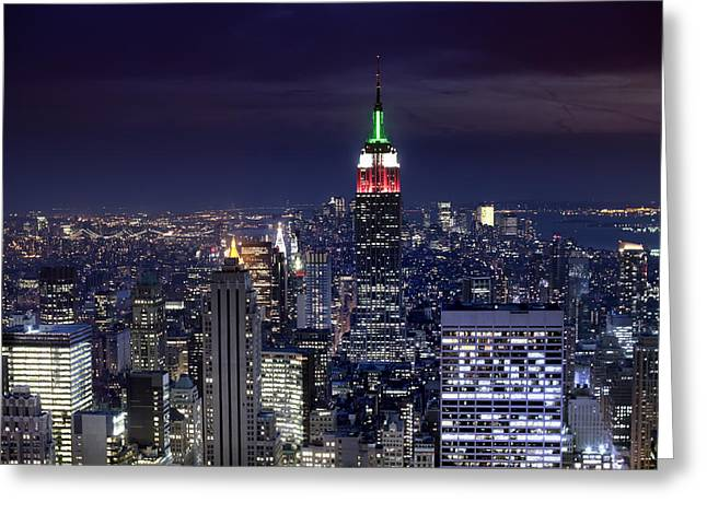 New York Skyline Night Color Greeting Card