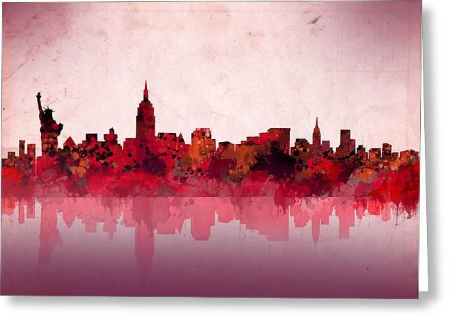New York Skyline Red Greeting Card