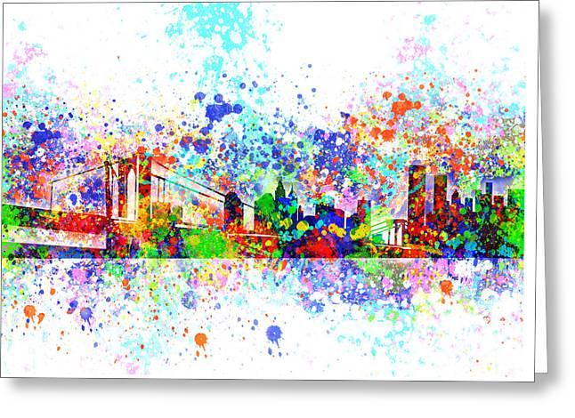 New York Skyline Splats Greeting Card