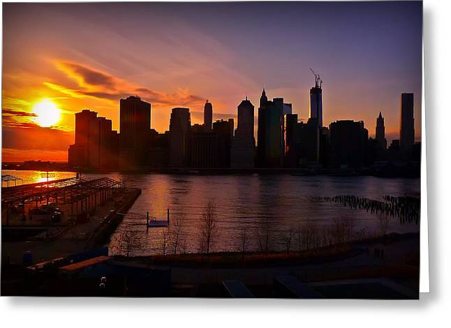 New York Skyline Sunset -- From Brooklyn Heights Promenade Greeting Card