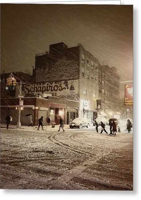 New York - Snow On A City Street Greeting Card by Vivienne Gucwa