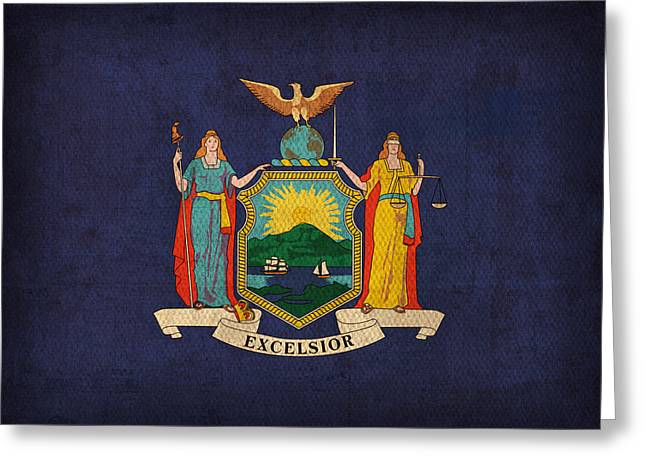 New York State Flag Art On Worn Canvas Greeting Card