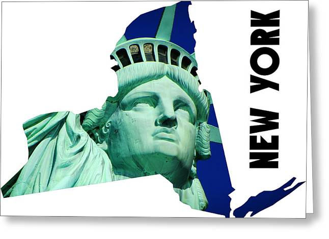 New York State Map Greeting Card by Celestial Images