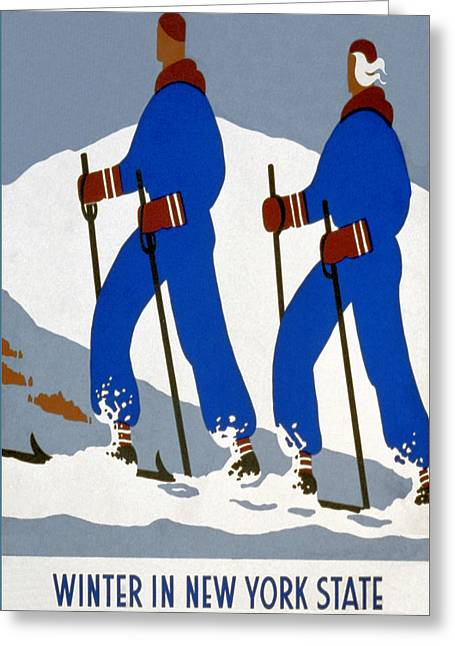 New York State Skiing Poster Greeting Card by Charlie Ross