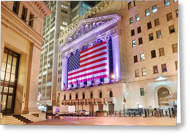 New York Stock Exchange At Night Greeting Card