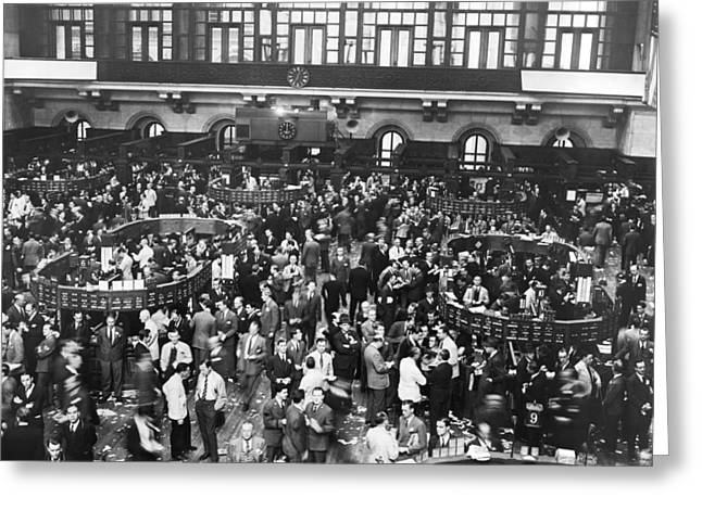 New York Stock Exchange Floor Greeting Card by Underwood Archives
