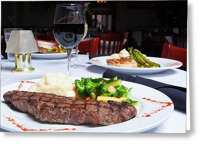 New York Strip Steak With Mashed Potatoes And Mixed Vegetables 4 Greeting Card